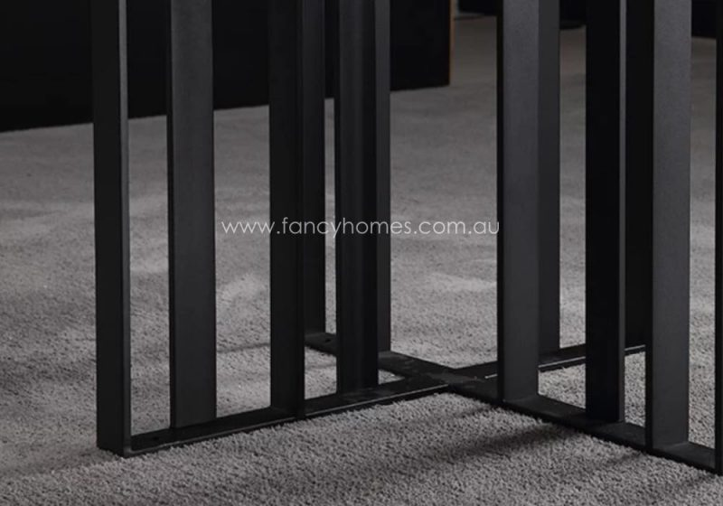 Fancy Homes Veronica Sintered Stone Dining Table Black Carbon Steel Base