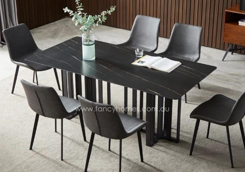 Fancy Homes Veronica Sintered Stone Dining Table Black Top