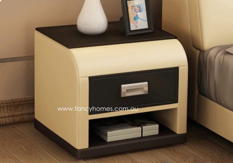 Fancy Homes NS9903 Bedside Table in Cream and Dark Brown